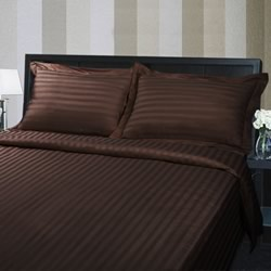 Hotel Quality 375TC Cotton Striped Chocolate Quilt Cover Set