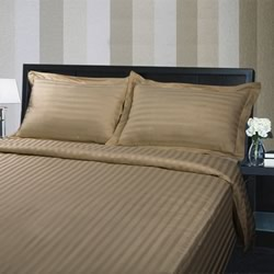 Hotel Quality 375TC Cotton Striped Coffee Quilt Cover Set