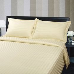 Hotel Quality 375TC Cotton Striped Cream Quilt Cover Set