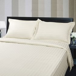 Hotel Quality 375TC Cotton Striped White Quilt Cover Set
