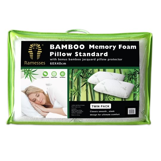 Bamboo Memory Foam Pillows Twin Pack