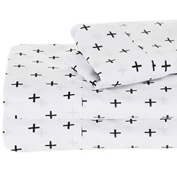 Crosses Charcoal Printed Cotton Sheets
