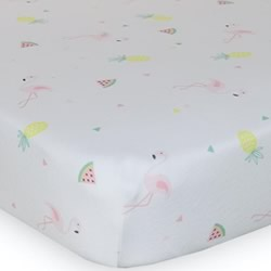 Flamingo Jersey Cot Fitted Sheet
