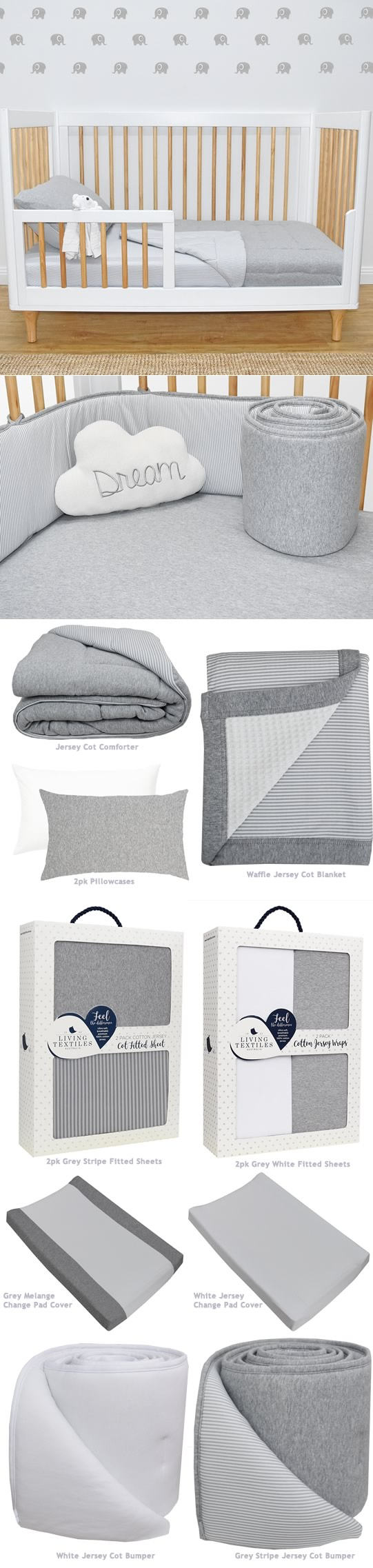 Misty Grey Jersey Cot Bedding