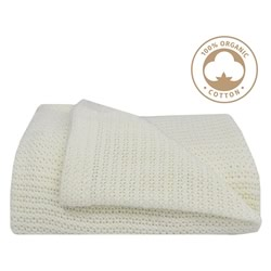 Organice Cot Cellular Natural White Blanket
