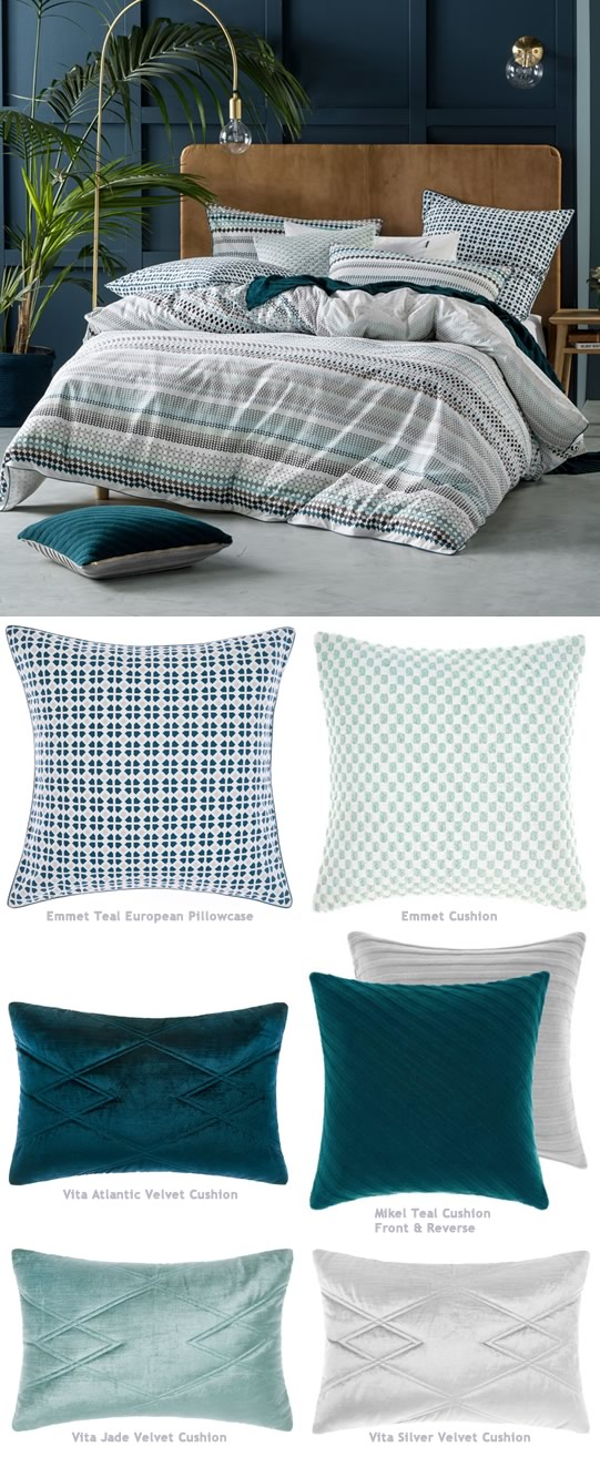 Emmet Teal Bedlinen By Linen House Cottonbox