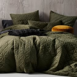 Heath Olive Quilt Cover Set