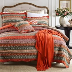 Mirrah Red Cotton Coverlet Set