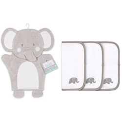 Grey Elephant Wash Mitt & Cloth