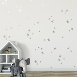 Silver Stars Wall Decal Set