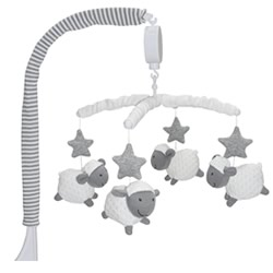 Silver Stars Sheep Musical Cot Mobile