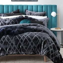 Diez Charcoal Quilt Cover Set