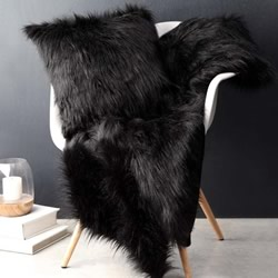 Barkley Black Faux Fur Throw