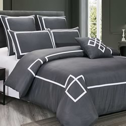 Burgess Grey And White Quilt Cover Set