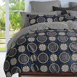 Elka Circle Black And Blue  Quilt Cover Set