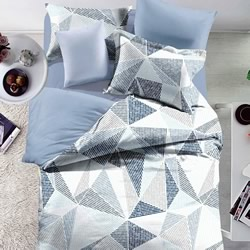 Halsey Geometric Blue Grey Quilt Cover Set