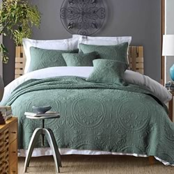 Baroque Slate Green Coverlet Set
