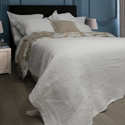 Audrey Plain White Coverlet Set
