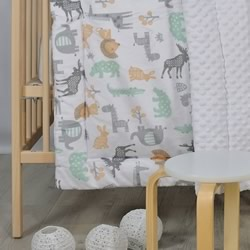 A Cosy Minky Cot Quilt AFRICAN JUNGLE