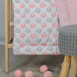 A Cosy Minky Cot Quilt PINK ELEPHANT