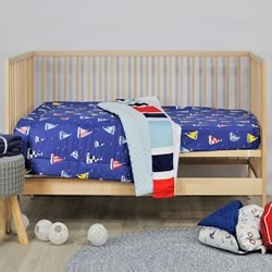 Sail Away Cotton Minky Cot Quilt