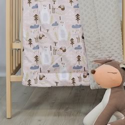 Woodland Blush Minky Cot Quilt