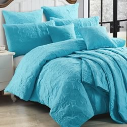 Marguerite Peacock Blue Quilt Cover Set