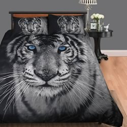 White Tiger Quilt Cover Set