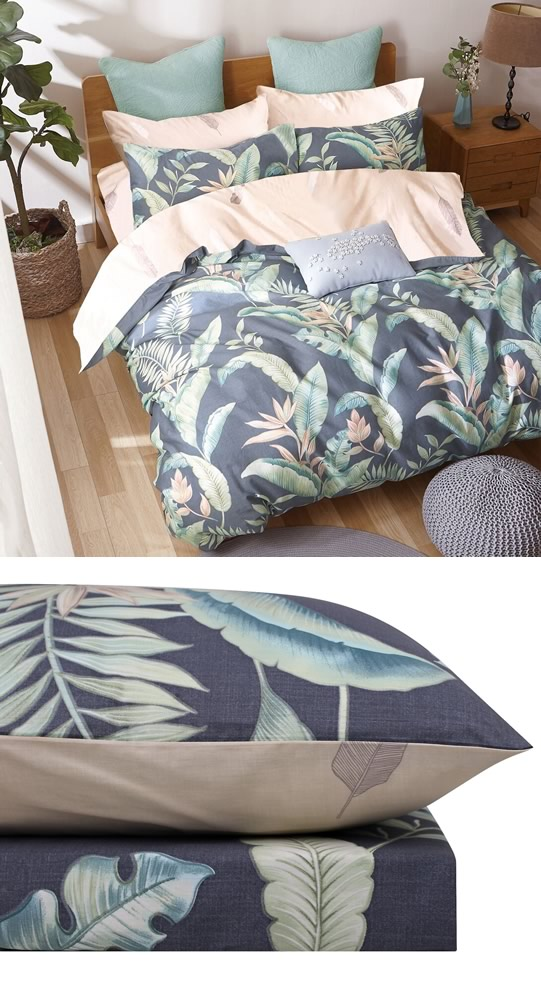 Coastal Leaf Quilt Cover Set By Odyssey Living Cottonbox