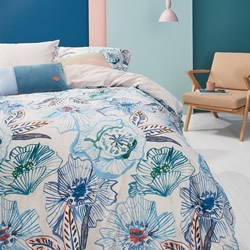 Oilily Rose Dust Blue Green Quilt Cover Set