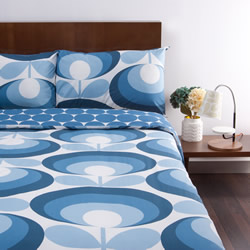 70s Flower Oval Blue Quilt Cover Set