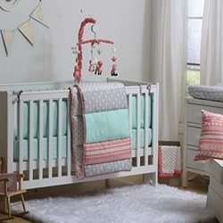 Coral Mint Mix N Patch Cot Set