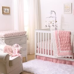 Coral Pleated Cot Coverlet