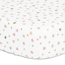 Coral Stars Cot Fitted Sheet