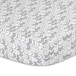 Herringbone Silver Cot Fitted Sheet
