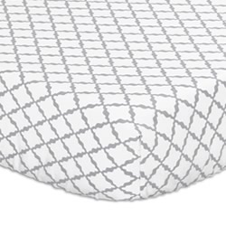 Grey Lattice Cot Fitted Sheet