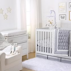 Grey Pleated Cot Coverlet