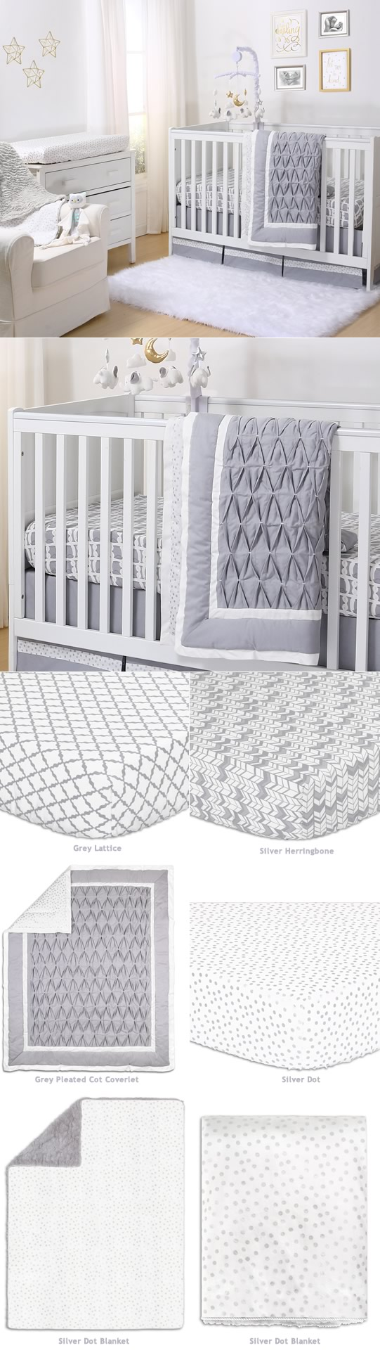 Grey Pleated Cot Bedding