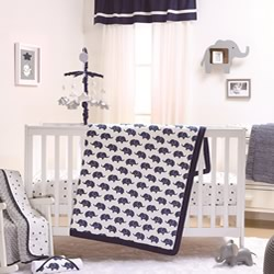 Navy Elephant Cot Set And Quilt