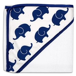 Navy Elephant Hooded Towel