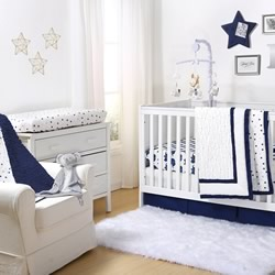 Navy Pleated Cot Coverlet