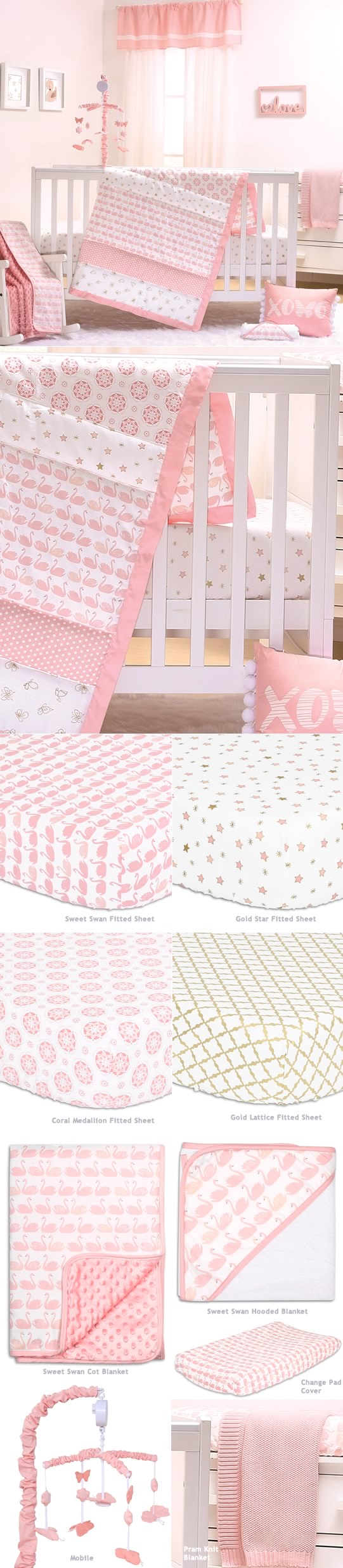 Sweet Swan Cot Bedding