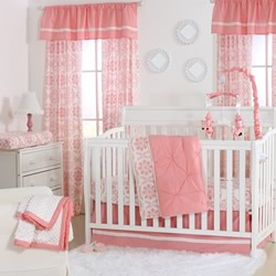 Coral Pintucked Nursery Set