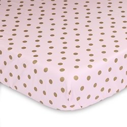 Pink And Gold Dots Cot Fitted Sheet