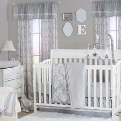 Grey Damask Nursery Set