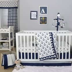 Navy Anchor Nursery Set