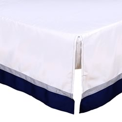 Navy/White Cot Dust Ruffle