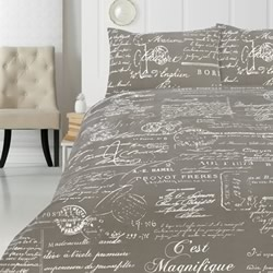 Script Grey Quilt Cover Set