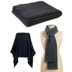 Coal Alpaca Throw, Blanket, Scarf & Poncho
