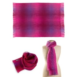 Cerise Mohair Throw, Knee Rug & Scarf